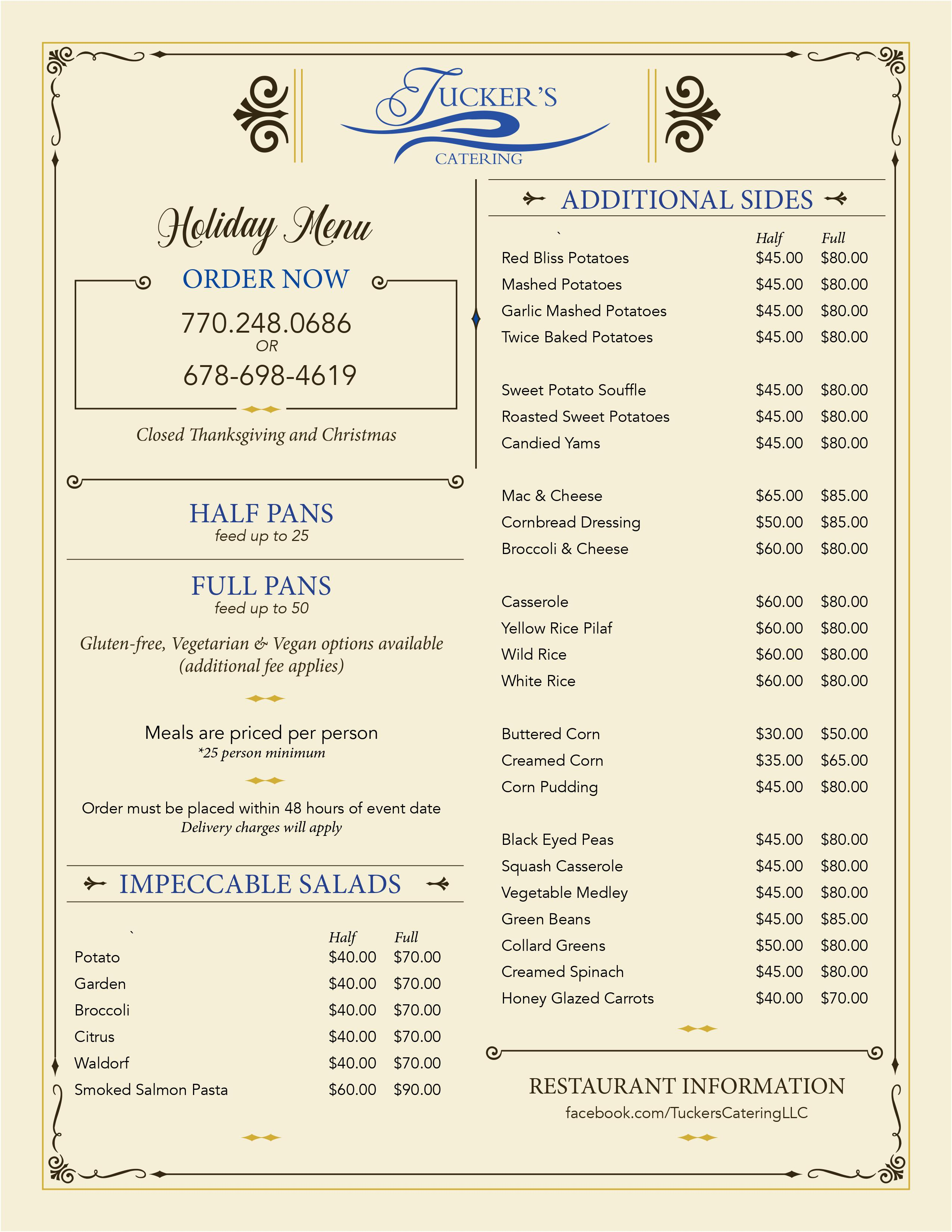 Tucker Catering Menu Holidays 2020 page 2
