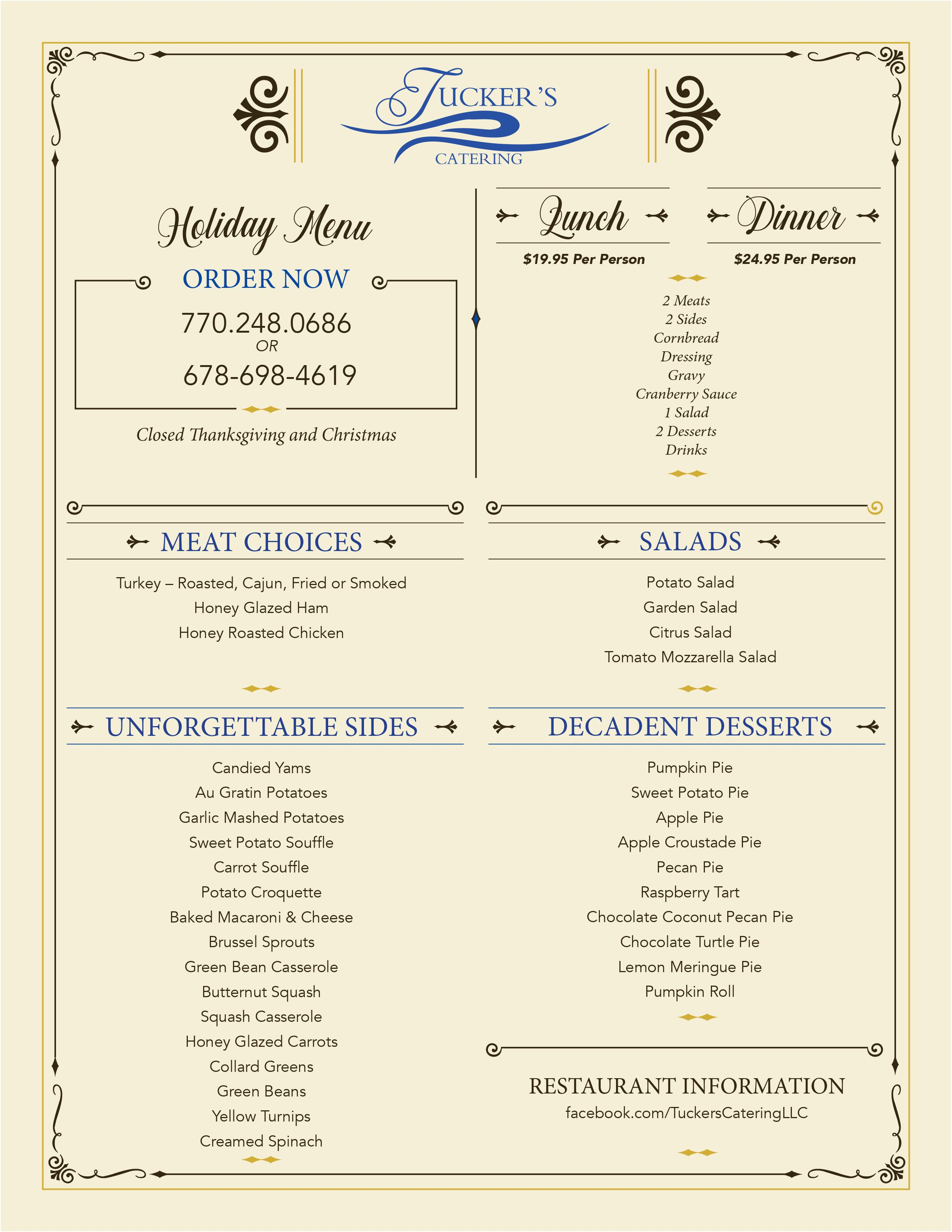 Tucker Catering Menu Holidays 2020 page 1